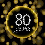 los 80.os diamantes de la invitación del cardgold del aniversario del feliz cumpleaños de los años numeran luces amarillas del bo Imagen de archivo