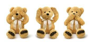 Los osos de peluche ven para oír para no hablar ningún mal Imagen de archivo libre de regalías