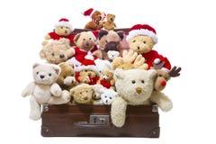 Los osos de peluche viejos aislados en una maleta vieja aislaron - el christm Imagen de archivo libre de regalías