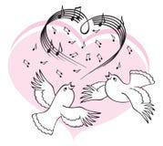 Los pájaros cantan una canción del amor. Imagen de archivo
