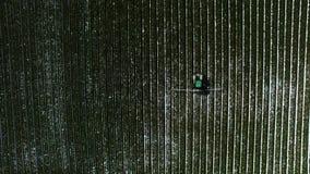 Los pájaros observan el tiro del campo de maíz de irrigación del tractor almacen de video
