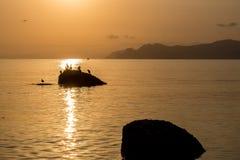 Los pájaros se están sentando en una roca en el mar en la puesta del sol Fotos de archivo libres de regalías