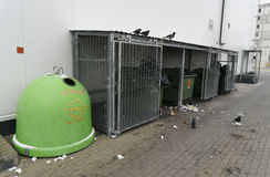 Los pájaros y los envases de la basura cerca hacen compras Foto de archivo libre de regalías