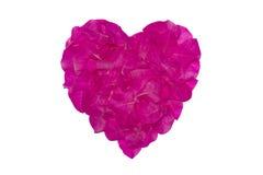 Los pétalos rosados de la flor de papel se arreglan como forma del corazón, símbolo del amor Aislado en el fondo blanco Foto de archivo libre de regalías