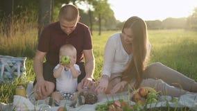 Los padres americanos están teniendo buen tiempo con el niño en parque en verano almacen de metraje de vídeo