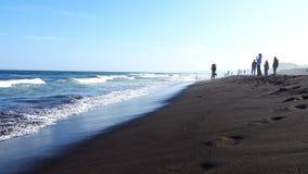 Los padres con los niños pasan tiempo en la playa metrajes