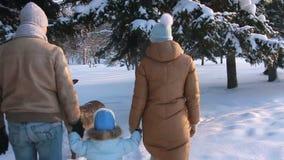 Los padres están con el niño en parque del invierno almacen de metraje de vídeo