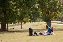 Los padres jovenes se relajan en la manta en parque Imagen de archivo