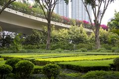 Los paisajes agradables diseñan alrededor de viaducto en la opinión de la ciudad Imagen de archivo libre de regalías