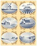 Los paisajes retros vector el dibujo antiguo escénico de la casa de la granja del ejemplo y del campo gráfico de la agricultura d stock de ilustración