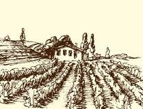 Los paisajes retros vector el dibujo antiguo escénico del campo gráfico de la agricultura de la casa de la granja del ejemplo libre illustration