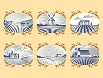 Los paisajes retros vector el dibujo antiguo escénico del campo gráfico de la agricultura de la casa de la granja del ejemplo stock de ilustración
