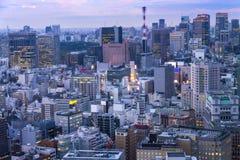 Los paisajes urbanos de Tokio en puesta del sol/sol suben, horizonte de Tokio, offi Foto de archivo libre de regalías