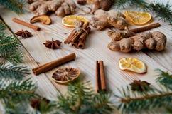 Los palillos de canela con anís todavía protagonizan, el jengibre, naranjas secadas en el fondo de madera con vida de las ramas d Imagenes de archivo