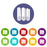 Los palillos de canela fijaron iconos Foto de archivo libre de regalías