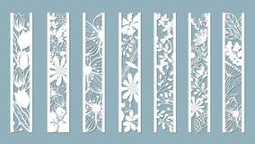 Los paneles con el estampado de flores Flores y hojas Corte del laser Sistema de plantillas de las señales Imagen para el corte d stock de ilustración