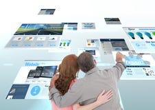 los paneles con los sitios web (azules) juntan buscar lo y la digitación imágenes de archivo libres de regalías