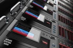 Los paneles de estante del servidor en centro de datos Imagen de archivo libre de regalías