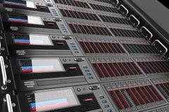 Los paneles de estante del servidor en centro de datos Fotos de archivo libres de regalías