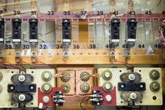 Los paneles de los cortacircuítos en central eléctrica Fotos de archivo libres de regalías
