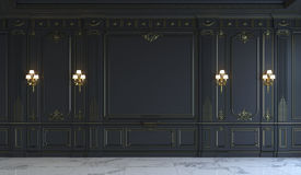 Los paneles de pared negros en estilo clásico con el dorado representación 3d stock de ilustración