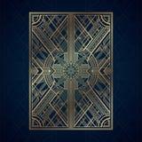 Los paneles del art déco del oro en fondo azul marino libre illustration
