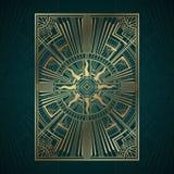 Los paneles del art déco del oro en fondo oscuro de la turquesa stock de ilustración