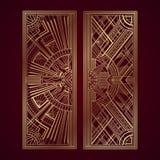 Los paneles del art déco del oro en fondo rojo oscuro stock de ilustración