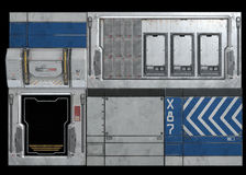 Los paneles del casco del vehículo espacial de la ciencia ficción Fotografía de archivo