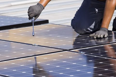 Los paneles fotovoltaicos Fotos de archivo
