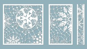 Los paneles ornamentales con el modelo del copo de nieve El laser cortó modelos decorativos de las fronteras del cordón Sistema d stock de ilustración