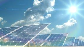 Los paneles solares almacen de metraje de vídeo