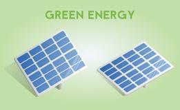 Los paneles solares aislados en el fondo diseño 3d o elemento infographic con la sombra Ejemplo del concepto del vector Imágenes de archivo libres de regalías