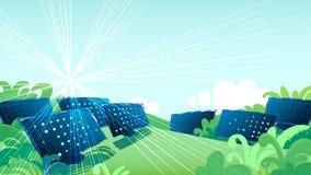 Los paneles solares en los campos verdes iluminados con el sol libre illustration