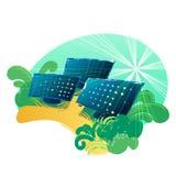 Los paneles solares en los campos verdes iluminados con el sol stock de ilustración