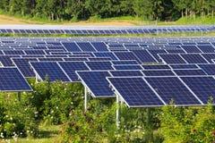 Los paneles solares en el verde Foto de archivo