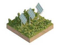 Los paneles solares en la isla aislada en blanco Imagen de archivo libre de regalías
