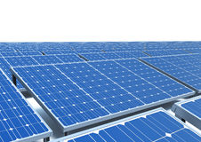 Los paneles solares en una azotea Imagenes de archivo