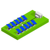 Los paneles solares en una azotea Vector isométrico Imagen de archivo