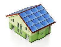 Los paneles solares instalados en el tejado de la casa ilustración 3D Foto de archivo libre de regalías