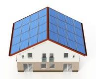 Los paneles solares instalados en el tejado de la casa ilustración 3D Fotos de archivo