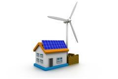 Los paneles y turbina de viento de energía solar Imagen de archivo