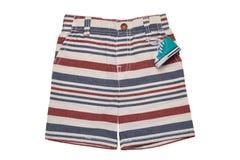 Los pantalones cortos aislaron Pantalones rayados elegantes cortos de una mezclilla del verano aislados en un fondo blanco Moda d imagen de archivo libre de regalías