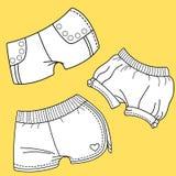 Los pantalones cortos de las mujeres Diseño del vestido de las mujeres Fotos de archivo