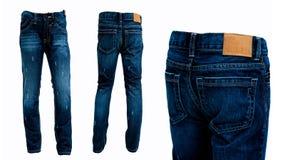 Los pantalones de los tejanos aislaron delantero y trasero Fondo blanco Fotografía de archivo