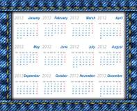 Los pantalones vaqueros hacen calendarios 2012 Imagenes de archivo