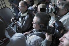 Fotógrafos de los paparazzis Imagen de archivo