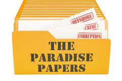 Los papeles del paraíso, concepto del escape representación 3d Foto de archivo libre de regalías