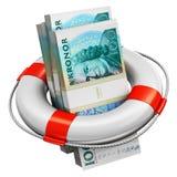 Los paquetes de 100 billetes de banco del dinero de la corona sueca en salvación buoy stock de ilustración