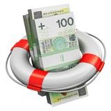 Los paquetes de 100 billetes de banco polacos del dinero del zloty en salvación buoy libre illustration